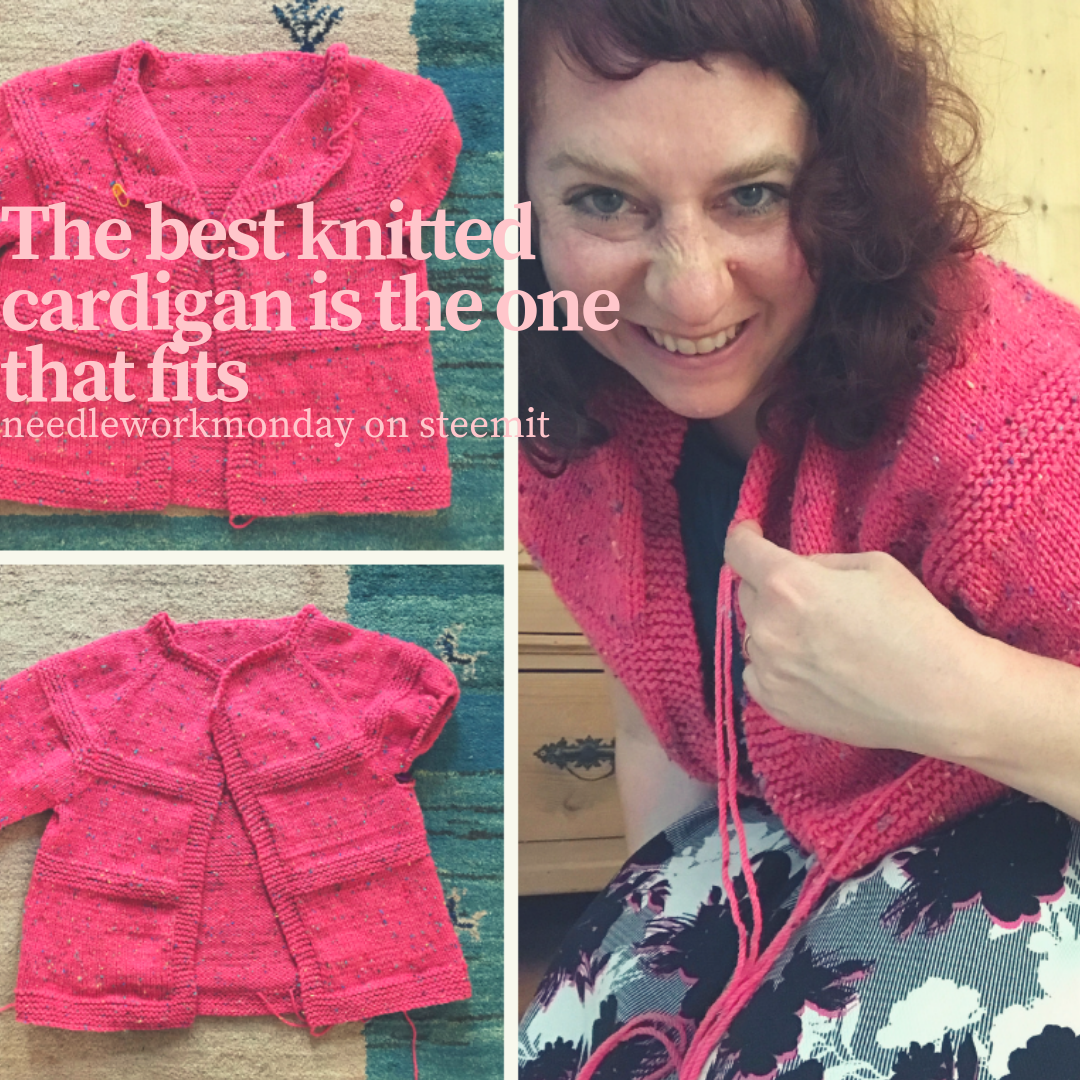 hand knitted pink cardigan with crochet neckline