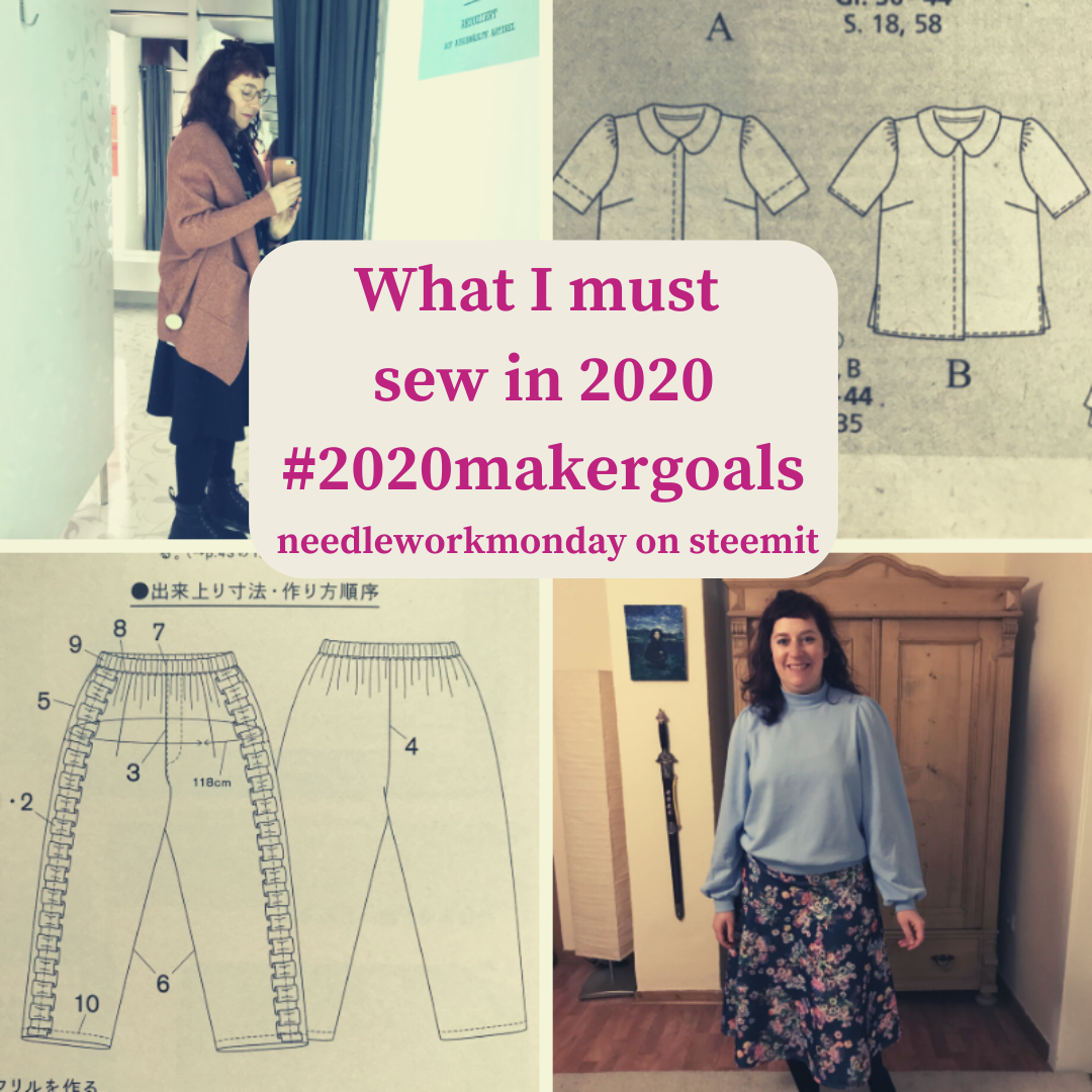 a woman showing her sewing and knitting projects for 2020