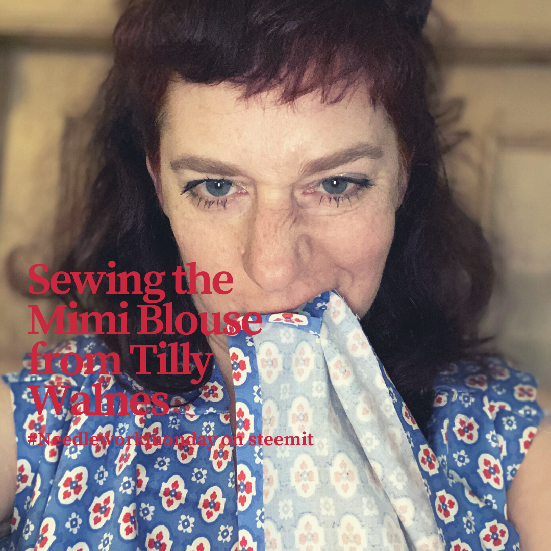 Portrait of a woman wearing her handsewn blouse und biting into the fabric