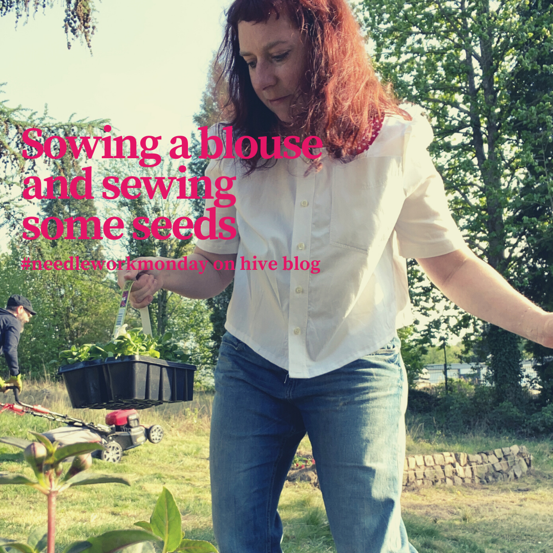 A woman wearing a refashioned mens shirt while planting flowers
