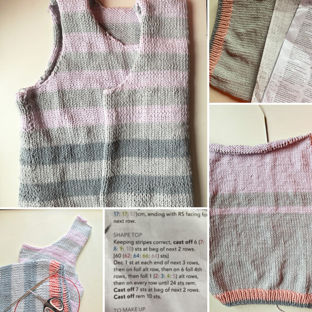 several photos of the unfinished knitted broadwalk cardigan in pastel hues