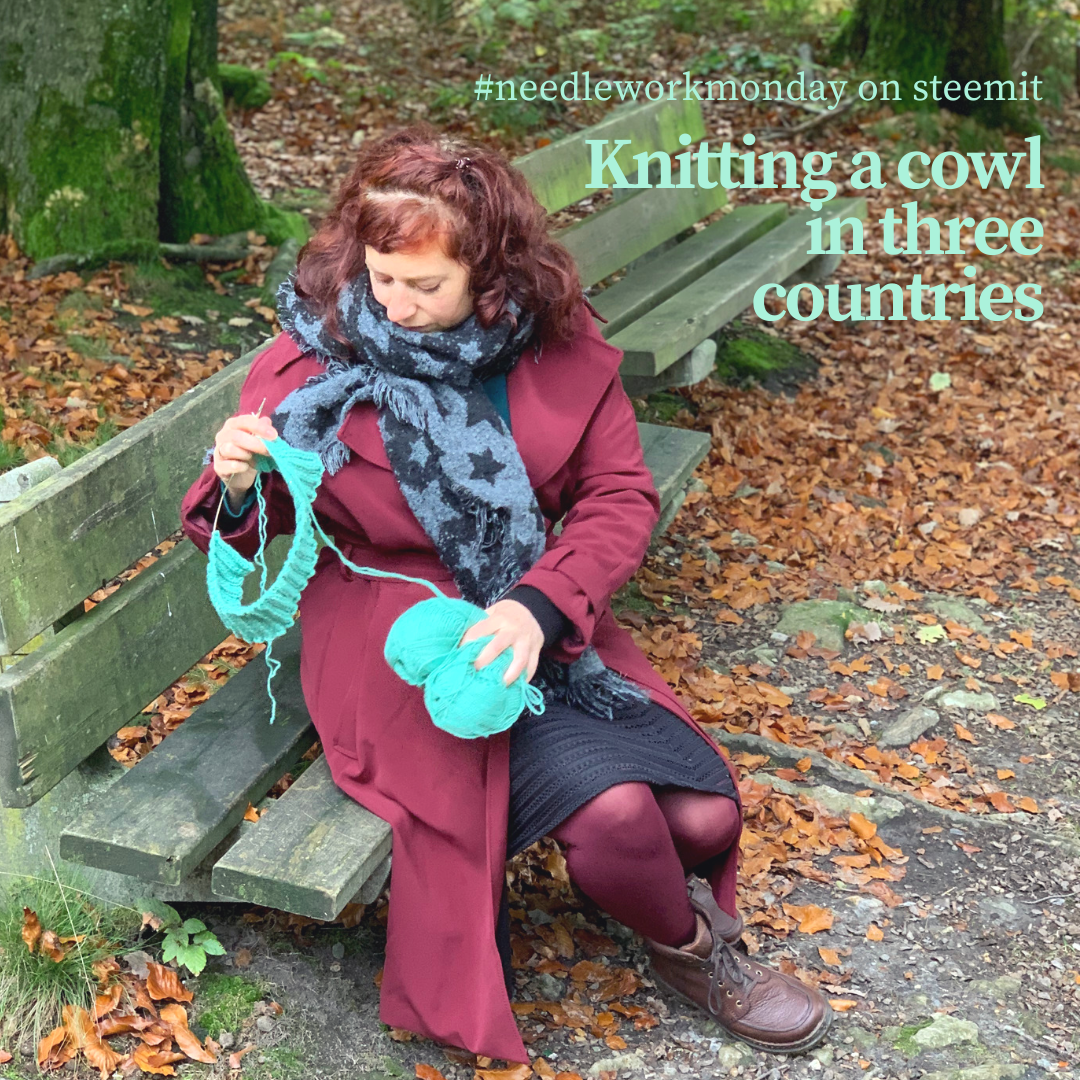 A woman sitting in a forest and knitting